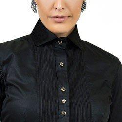detalhe camisa preta detalhe plissado principessa louise acabamentos
