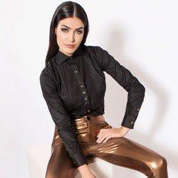 detalhe camisa preta detalhe plissado principessa louise conceito