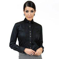 detalhe camisa preta detalhe plissado principessa louise tecido