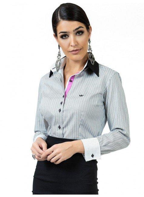 camisa feminina listrada classica principessa olga look