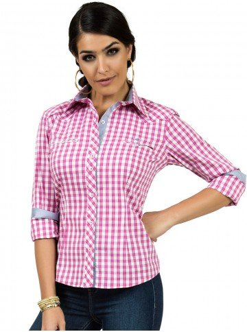 camisa xadrez rosa principessa debora look