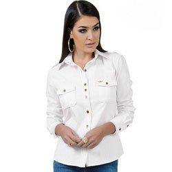 detalhe camisa oxford branca principessa livia tecido e modelagem