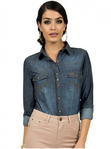 camisa feminina jeans princioessa pedrita look