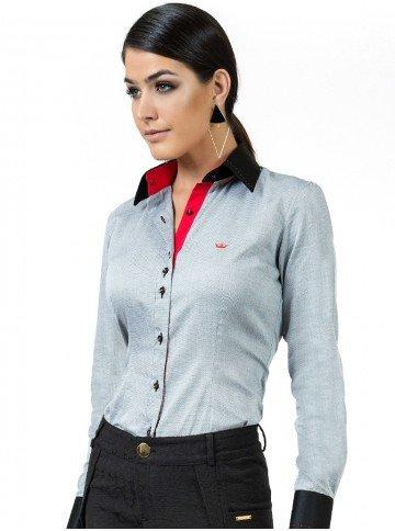 camisa maquinetada premium cinza feminina principessa joana look