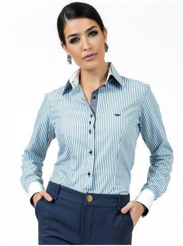 camisa premium social feminina listrada fio egipcio principessa madonna look