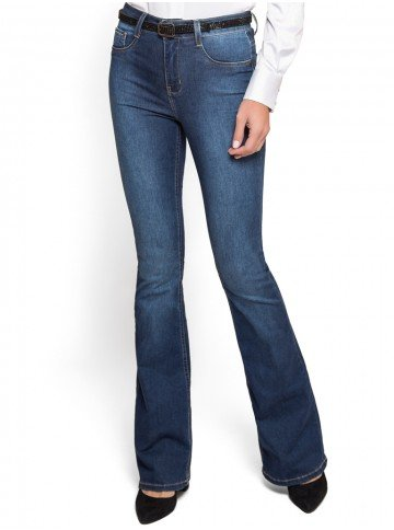 calca flare jeans claro cintura media denim zero look