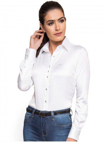 camisa social feminina branca cetim botao cristal principessa aurea look