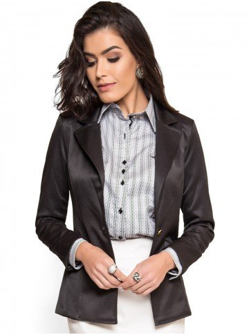 blazer preto feminino social principessa hayla modelagem slim look