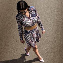 detalhe vestido chemise estampado manga longa principessa isidora conceito