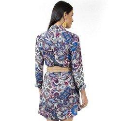detalhe vestido chemise estampado manga longa principessa isidora tecido leve