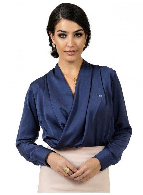 blusa marinho transpassado cetim principessa zuleide look