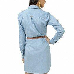 vestido jeans claro manga longa principessa kelly tecido leve