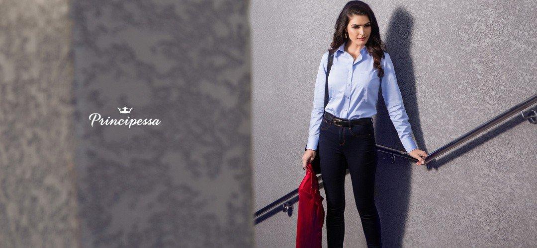 banner conceito camisa social feminina com bolso principessa thaiza