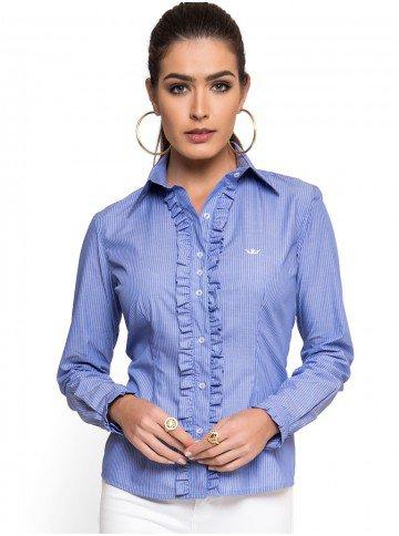 camisa social com babado listrado azul principessa darlen look