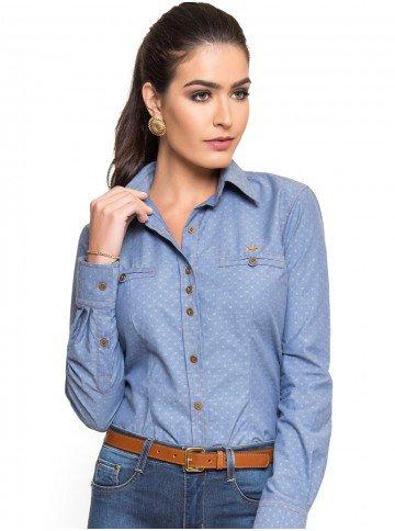 camisa jeans feminina maquinetado principessa jordane look