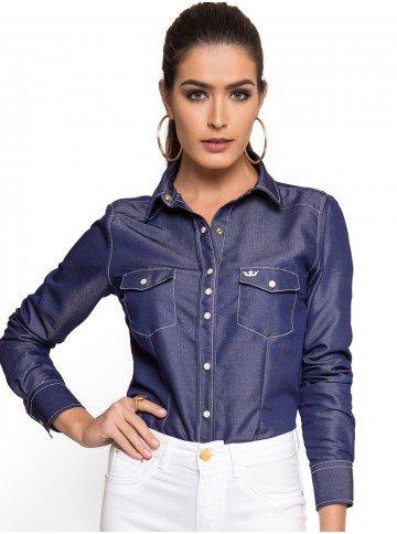 camisa jeans feminina jeans escuro principessa inarae look