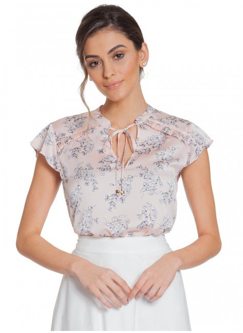 blusa floral rose principessa alaiane frente