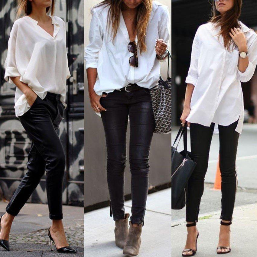 calca preta camisa branca