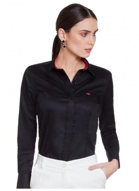 camisa social preta principessa lana frente