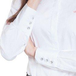 camisa maquinetada branca principessa diane detalhes botoes