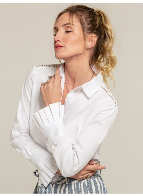 camisa social branca drapeados camile frente