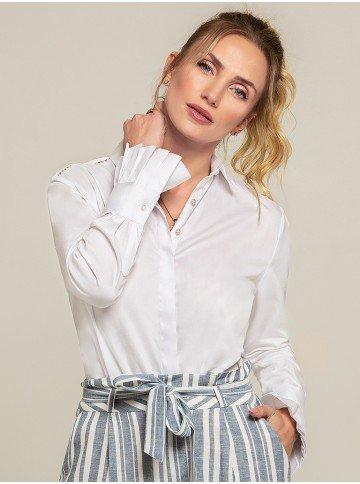 camisa social branca drapeados camile frente 2