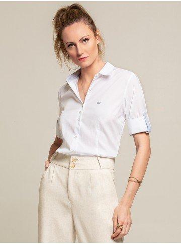 camisa 3 4 branca julie frente