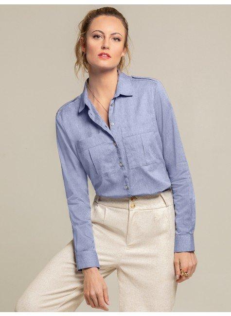 camisa social azul jeans larissa frente