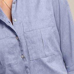 camisa social azul jeans larissa detalhes