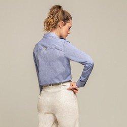 camisa social azul jeans larissa modelagem