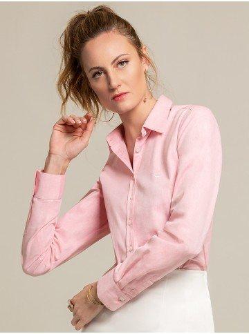 camisa social rosa blanca frente