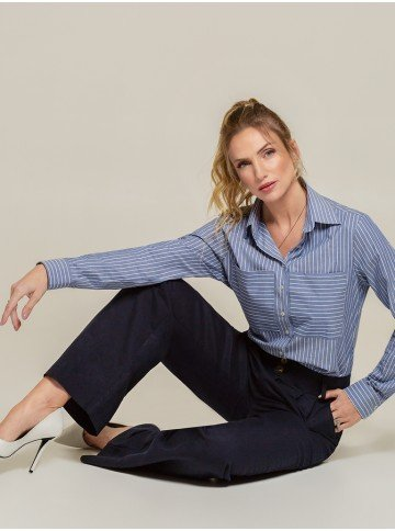 camisa listrada azul laura frente