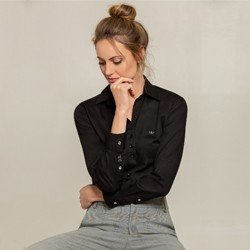camisa social preta charlie modelo selecionado