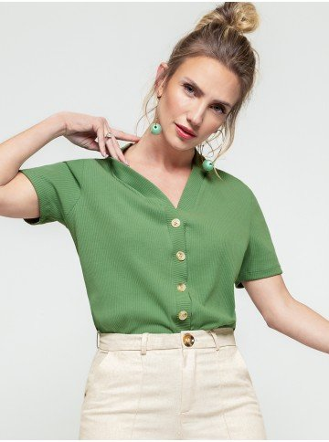 blusa canelada feminina verde
