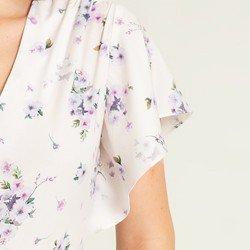 blusa creme floral valery mangas tecido