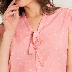 blusa salmao de poa hortencia decote tecido