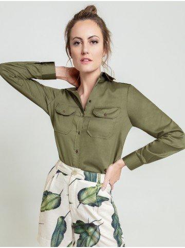 camisa verde militar dragona cassia frente