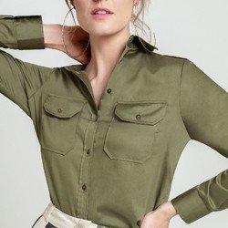 camisa verde militar dragona cassia detalhes