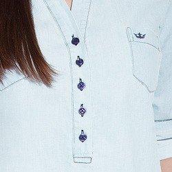 blusa jeans manga longa suzy detalhe