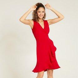 vestido vermelho transpassado monise geral