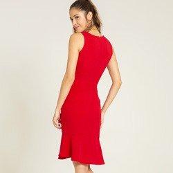 vestido vermelho transpassado monise tecido