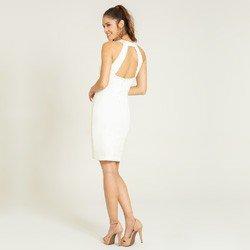 vestido gola alta off white sandrini modelagem