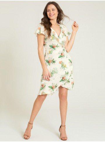 vestido floral transpassado caetana frente