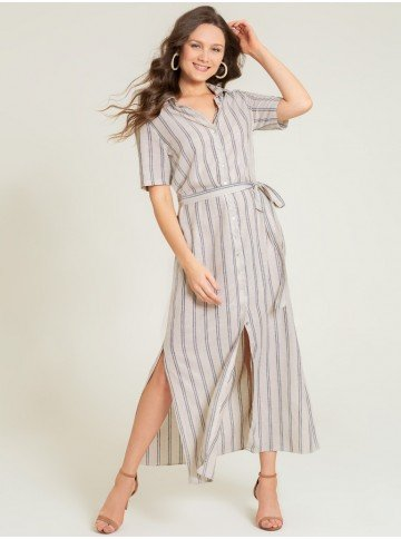 vestido chemise longo listrado estefania frente