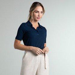 camisa polo canelado marinho seomara geral