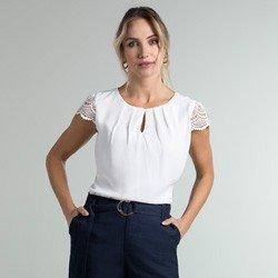 blusa off white manga renda halle geral