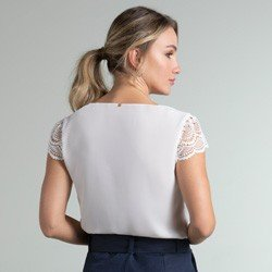 blusa off white manga renda halle modelagem
