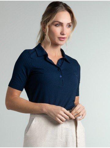 camisa polo marinho canelada seomara frente