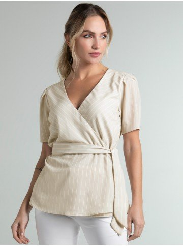 blusa listrada transpassada bege jodie frente