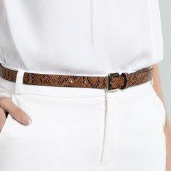 cinto fino marrom animal print cobra giordana comprimento